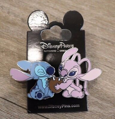Disney DLRP Stitch and Angel sharing Coconut Drink Disneyland Paris Pin