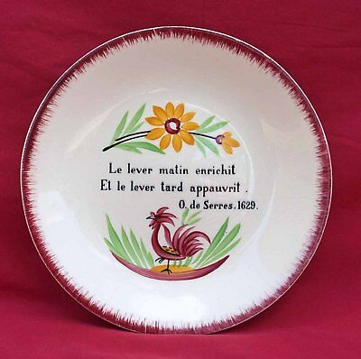 French Hand Painted Faience Rooster and Get Up Motto Gien 1960's