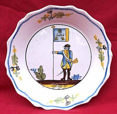 French Revolution Plate Gendarme w/ Liberty Flag Hand Painted Faience Nevers