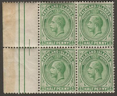 Falkland Islands 1920 KGV ½d Dull Bluish Green Margin Block of Four Mint SG60d
