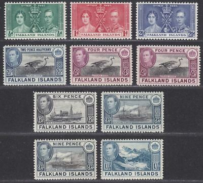 Falkland Islands 1937-50 KGVI Selection to 1sh Mint