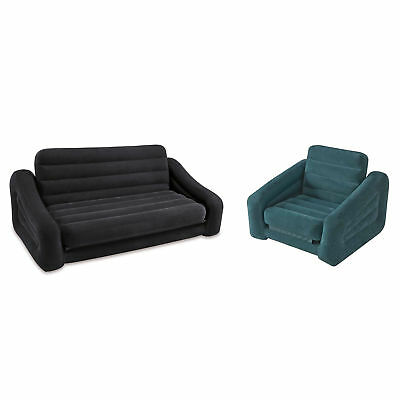 Intex Inflatable Queen Pull-Out Sofa Bed + Inflatable Pull-Out Chair Sleeper