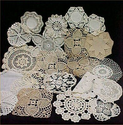 "20 Vintage Antique Hand Crocheted Doily Tablecloth White 5-12"" Wedding Crafts"