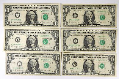 1963B $1 Federal Reserve STAR BARR Notes- Lot Of 6