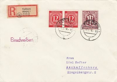 AM-Post, Mi. 33b Az, R-Brief, Velbert, 27.7.46, geprüft Schlegel BPP