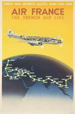 """Original 1938 Air France Travel Poster French Airlines N. Gerale 39"""" x 24"""" NR!"""