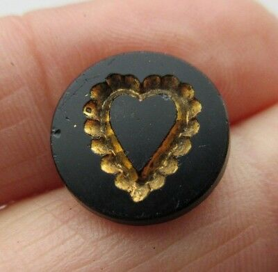 Lovely Antique~ Vtg Victorian Black GLASS BUTTON Incised Gold Luster Heart (R)