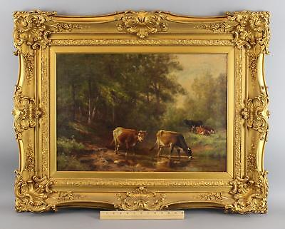 Antique THOMAS BIGELOW CRAIG Grazing Cattle Cow Bucolic Landscape Oil Painting