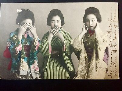 Japan Japanese three Wise Maids color postcard used in US 1907