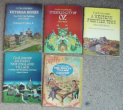 Lot of 5 - Vintage Cut & Assemble Full Color Books H-O Scale