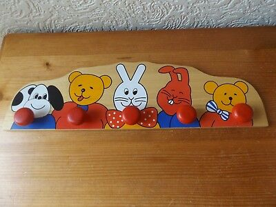 Child's  Wooden Wall Clothes Rack With Pictures Of Animals