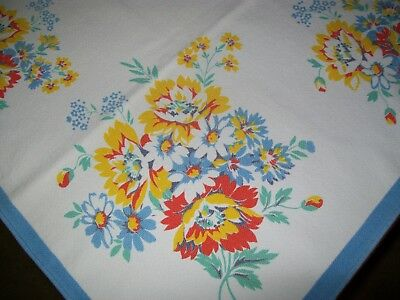 Vintage Tablecloth  Assorted Flowers Blue Border
