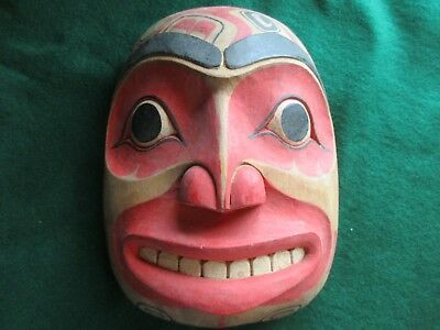 Classic Northwest Coast Design, Carved Wooden Ceremonial Effigy Mask,  Wy-436