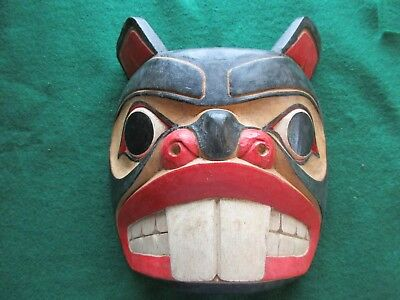 Classic Northwest Coast Design, Carved Wooden Ceremonial Effigy Mask,  Wy-01900A