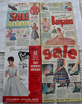 4 National Bellas Hess fashion catalogs all from 1958, includes colorful pages