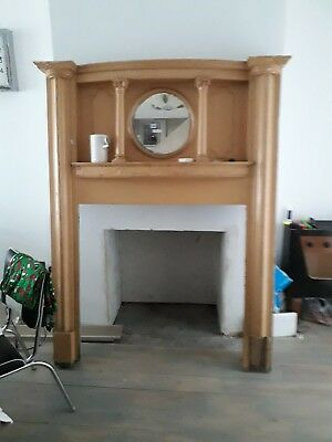 Victorian/Edwardian Wooden Painted Fire Surround with Round Bevelled mirror