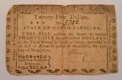 "North Carolina 1779 $25 ""American Fortitude Displayed"" & ""Death to Counterfeit"""