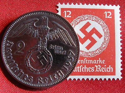Old German NAZI WAR COIN 1937WWII w/Sw. +RARE STAMP