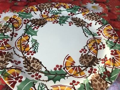 """Emma Bridgewater Holly Wreath Christmas 13"""" Cake Plate Discont Best New"""