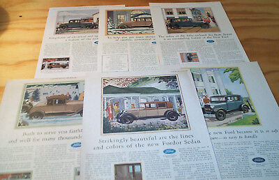 Vintage LOT 1929 FORD Motor Car Quality Color ad pages
