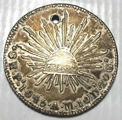 Mexico 1845 Pi AM 8 Reales CAP & RAYS Dollar NICE SILVER COIN (holed)