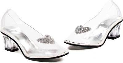 ad4ff30e147 Cinderella Princess Glitter Heart Clear Slip On Pumps Slippers Shoes Child  Girls