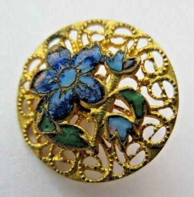 Beautiful Antique~ Vtg Pierced Brass Metal Filigree BUTTON ENAMEL Flowers (R)
