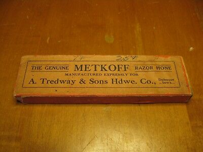 Vintage A. Tredway & Sons Hdwe. Co. Razor Hone Double Sided by Metkoff w/ Box