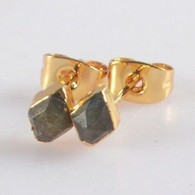 6x5mm Natural Labradorite Faceted Stud Earrings Gold Plated T073301