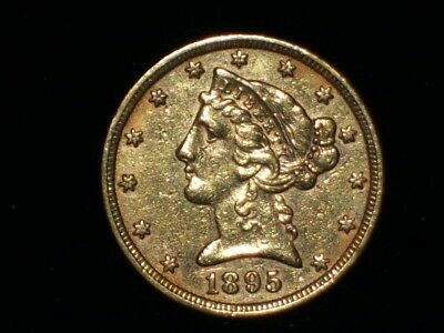 1895 - $5 Gold Liberty Head Half Eagle Coin From Estate