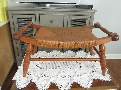 Vintage Tell City Woven Footstool Maple Early American ~NICE~