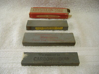Vintage Lot 3 Pocket Size Carborundum Knife Sharpening Stones Firestone & Others