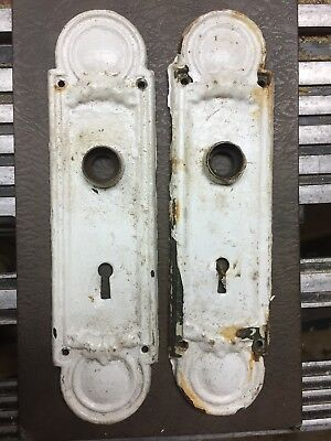 Pair Of Old Door Knob Back Plates, White Chippy Paint