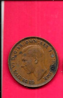 Great Britain British Gb Uk Km845 1945 Fine-Nice Old Antique Wwii Penny Coin