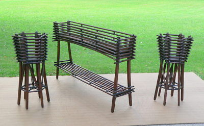 Antique Adirondack Style Rustic Twig Garden Planter & Plant Stands 3pc set