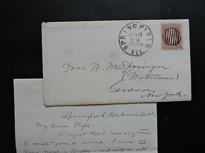 1862 Springfield Il Fancy +Letter Signed William M Springer ! Congress ! Indians