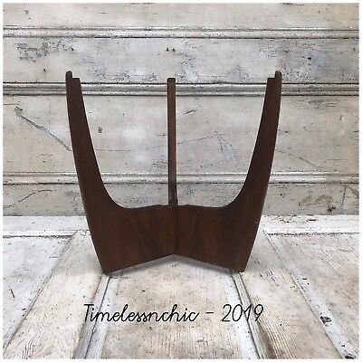 Unique Vintage Mid Century Danish Modern Wood Side End Table Plant Stand Base