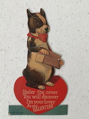Vintage Mechanical Valentine's Day Card Boston Terrier Dog opens box