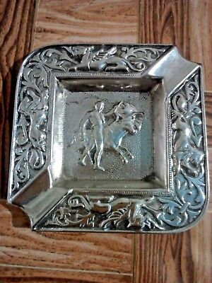 Vintage Rare Small Spanish Ornate Silver Plated Ashtray