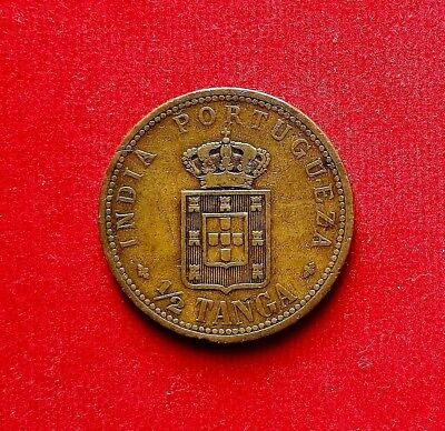 1901 Portuguese India Colonial 1/2 Tanga Coin Carlos I Km#16 Beautiful Coin!