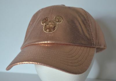 Disney Parks Exclusive Rose Gold Mickey Mouse Sequins Baseball Cap Hat New