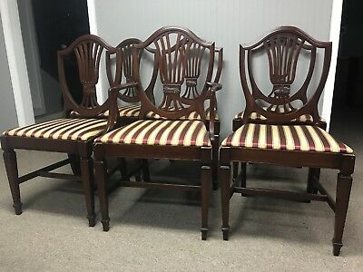 1940 - 1950 Duncan Phyfe Mahogany Dining Room Chairs Set Of 6 Vintage Antique