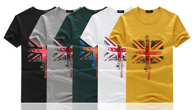50 Joblot Men Union Flag Designing Shorts Sleeves Casual Cotton Top Soft T-Shirt