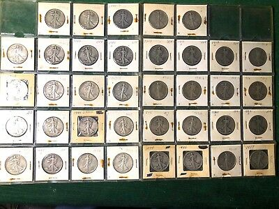 37 Liberty Walking Half Dollars 1917-1947 ALL DIFFERENT DATES - SOME EXC COND!