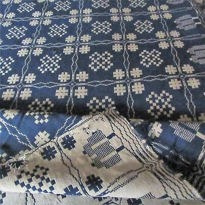 1815! wow~19thC Antique INDIGO Blue TAN Woven Coverlet Signed TIMEWORN EXAMPLE