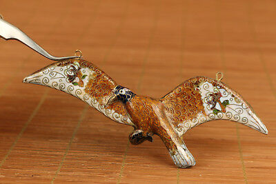 Lovely Chinese Old Cloisonne Hand Painting bat figure Statue netsuke pendant