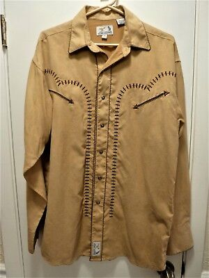 THE BEST Panhandle Slim Faux Suede Western Mens Pearl Snap Shirt,Embroidery,SZ M