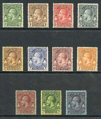 Turks and Caicos Is SG176/86 KGV Postage and Revenue Set (10/- brown gum) M/M