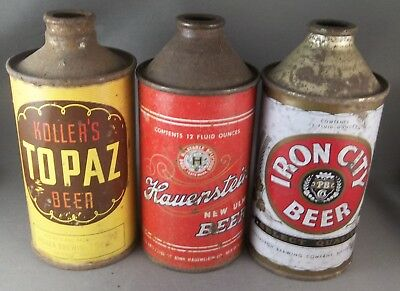 Lot of 3 cone tops - early Hauenstein, Iron City, Kollar's Topaz j-spout