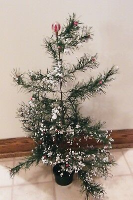 """ANTIQUE VINTAGE Faux Feather CHRISTMAS TREE 24"""" Berries Snow"""